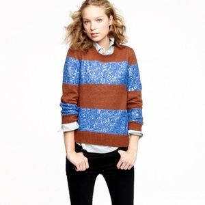 J. Crew Wynter Sweater Sequin Stripe Blue Brown S